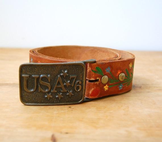 Vintage 1970s Belt - 70s Tooled Leather Belt - The Elaine