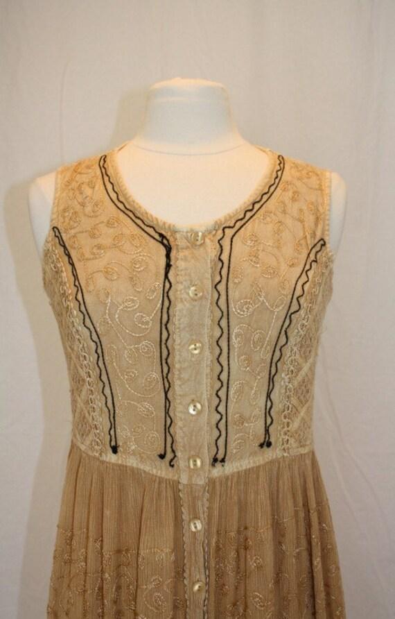 Camel Embroidered Dress sleeveless Hippie Boho gypsy burning Man Tan Beige golden Rayon vintage Retro  Size Medium