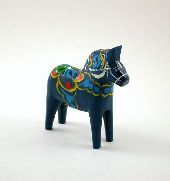 Vintage Swedish Blue Dala Horse