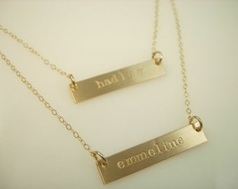 Gold Bar Necklace Layered Necklace - Personalized Necklace - Hand Stamped Jewelry