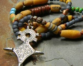 Taureg Cross Pendant Necklace Vintage African Krobo Yellow OOAK