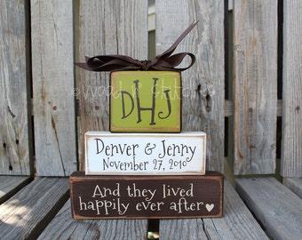 Personalized Name Established Monogram Wood Block Set Wedding Anniversary Gift Family Decor Engagement Reception