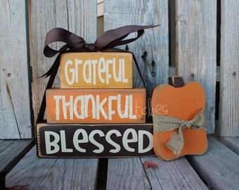 Primitive Grateful Thankful Blessed STACKER Wood block set  fall autumn pumpkin home seasonal decor