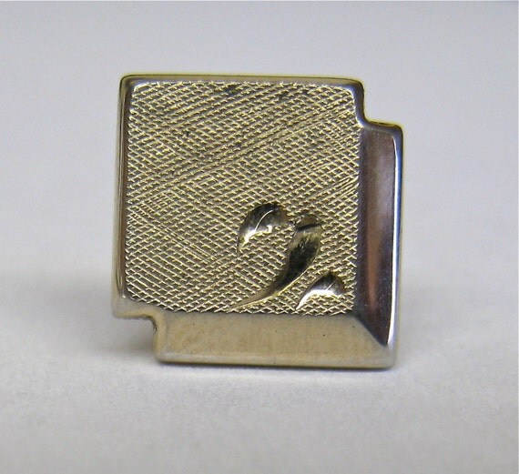 Vintage Swank Tie Tack, Gold Toned Textured Square with Safety Chain