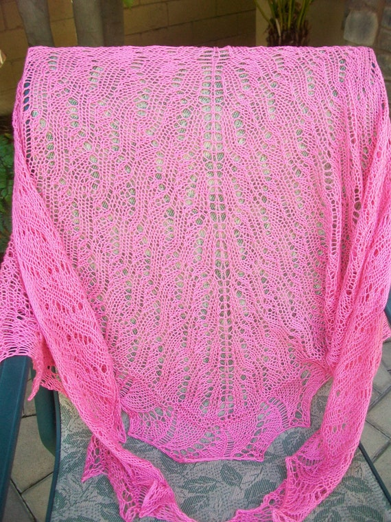 Clearance Priced Pink Ribbon Breast Cancer Awareness Triangular Knitted 100 Percent Pima Cotton Lace Shawl