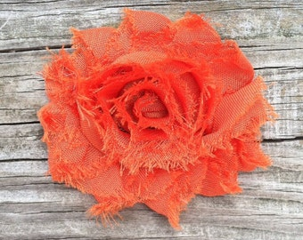 Pumpkin Orange Flower Hair Clip, Shabby Flower Hair Clip, Burnt Orange Flower Hair Clip, Toddler Hair Clip, Orange Shabby Flower Hair Clip