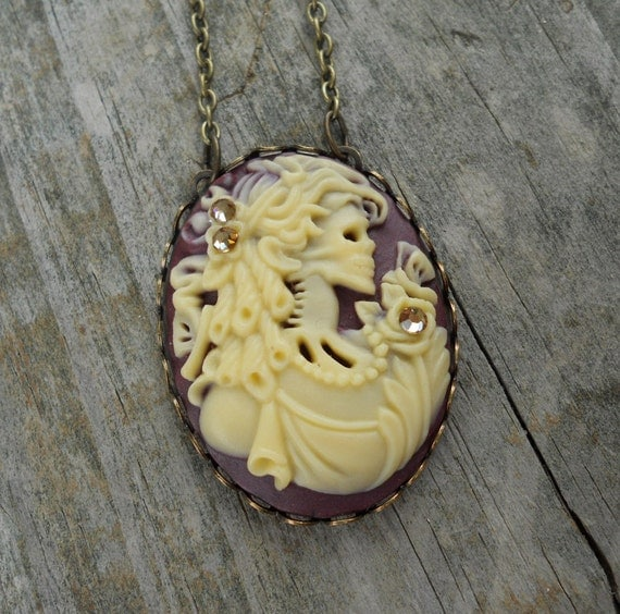 Zombie Woman Gothic Halloween Cameo Necklace