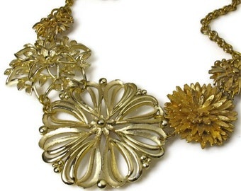 Upcycled Jewelry, Gold Flower Necklace Statement, Gold Flowers, One Of A Kind, Repurposed