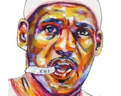 Lebron James Painting Reproduction Print 11 x 8.5