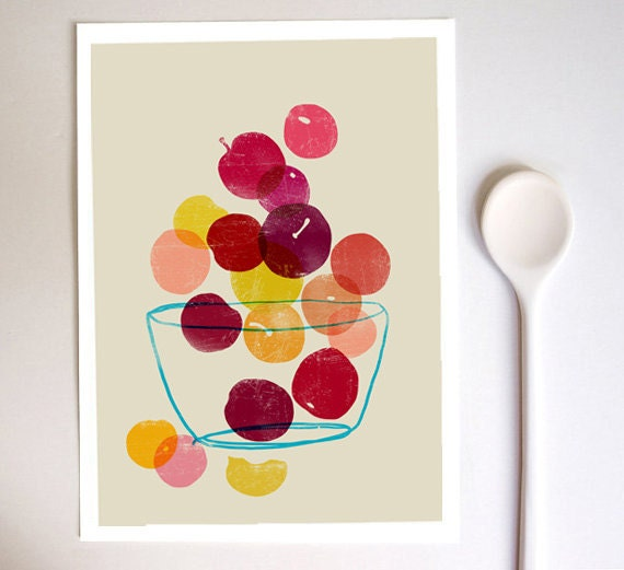 Kitchen Art print - Plums - Summer Fruit Art  / high quality fine art print