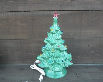 Vintage Style Ceramic Christmas Tree with Lights - Handpainted Bright Wintergreen - Large - Ready to Ship
