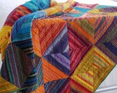Multi Colored Diamond Stripes Patchwork Quilted Throw