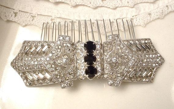 Art Deco Black & Clear Rhinestone Bridal Hair Comb - Heirloom Vintage Brooch Silver Plated Haircomb OOAK