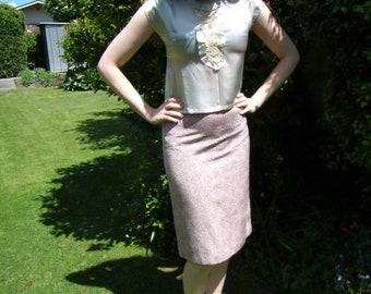 1950s pink high waisted pencil skirt