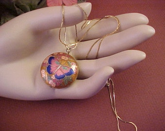 Lovely Cloisonne Small Pendant, With Butterfly Design