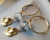 Gold Autumn Leaves Storm Blue Cut glass Window Hoop Earrings