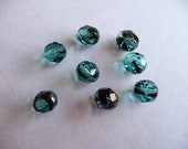 Bead, Preciosa, Czech, Fire Polished, Glass, Two Tone, Black Turquoise Blue, 8mm, Faceted, Round, Pkg Of 10