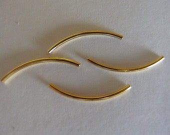 Bead, Gold Plated, Brass, 20x1mm, curved tube, Pkg Of 20
