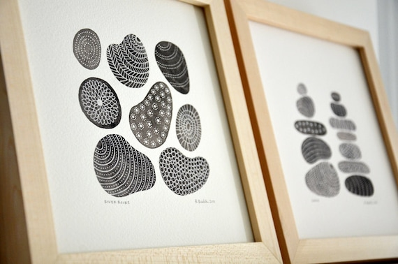 River Rocks and Cairn Illustrations - Set of 2