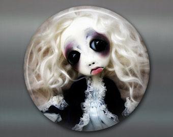 "3.5"" gothic doll fridge magnet, large magnet, kitchen decor, gothic art decor, stocking stuffer gift for her MA-AD8"