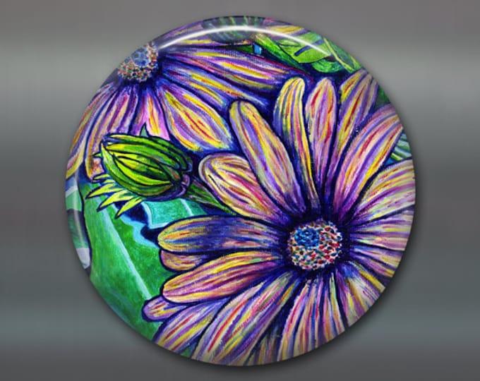 """3.5"""" giant magnet, kitchen decor, purple daisy decor, fridge art,  flower magnet, purple flower decor, fridge magnet, purple decor MA-501"""