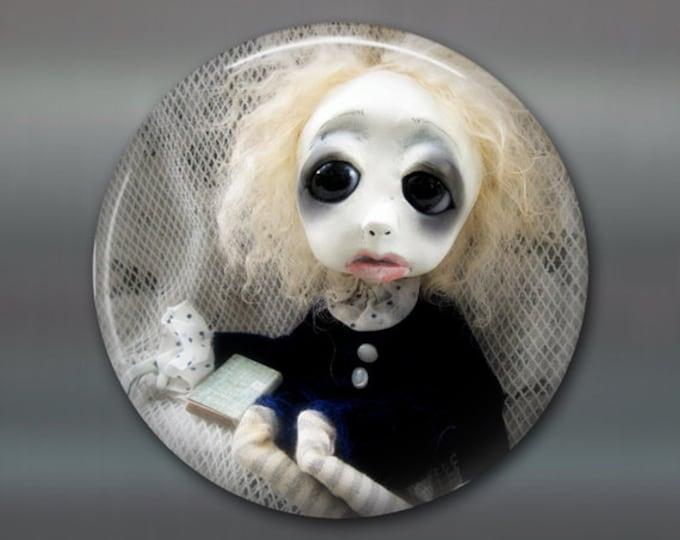 "3.5"" gothic doll fridge magnet, large magnet, kitchen decor, gothic art decor, stocking stuffer gift for her MA-AD42"