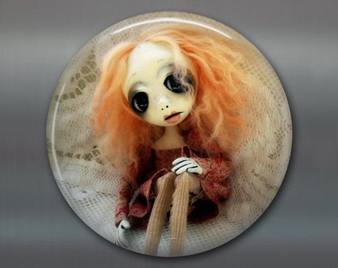 "3.5"" gothic doll fridge magnet, large magnet, kitchen decor, gothic art decor, stocking stuffer gift for her MA-AD50"