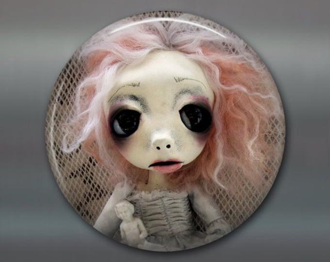 "3.5"" gothic doll fridge magnet, large magnet, kitchen decor, gothic art decor, stocking stuffer gift for her MA-AD47"