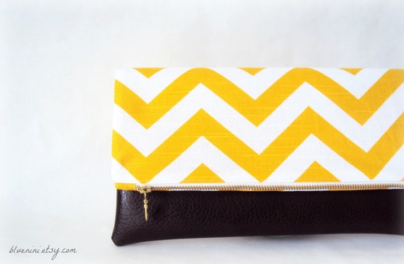 Hybrid Clutch - Fold Over Zippered Clutch - Dandelion Yellow Chevron with Brown Vegan Leather