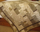 Handmade Quilt Contemporary Natural, Patchwork Quilt, Quilts and Throws