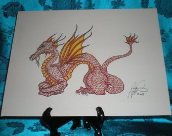Red Dragon printed on water color paper 7x9