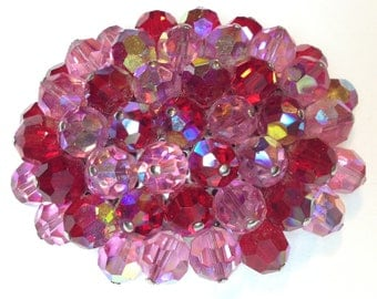 Raspberry Colored Crystals Vintage Brooch