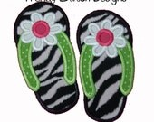 Flip Flop FLOWER Applique design Machine Embroidery Design INSTANT DOWNLOAD