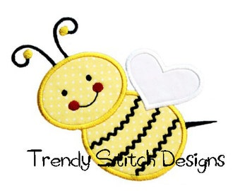 Cute Bumblebee Applique Design Machine Embroidery Design INSTANT DOWNLOAD