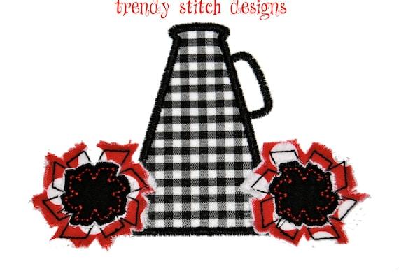 Megaphone Cheer Applique Design Machine Embroidery Design INSTANT DOWNLOAD