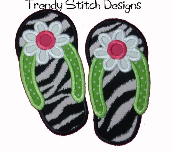 Flip Flop FLOWER Applique design Machine Embroidery Design INSTANT DOWNLOAD