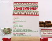 Cookie Swap Invitation - DIY printable custom invitation -  Red and Green Chevron Pattern #PRN108