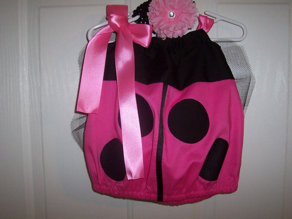 Ladybug Halloween Costume Infant through size 4 Baby Toddler pink, red, puple, or orange and Black with flower and headband