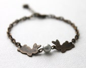 Lovely Bunny Bracelet. antique brass bunnies with Swarovski pearls