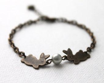 Lovely Bunny Bracelet. antique brass bunnies with Swarovski pearls