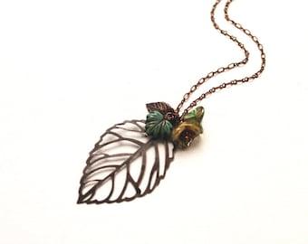 Leaf Necklace. antiique copper filigree leaf with flowers