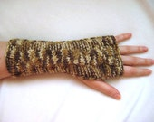 Fall Fashion - Brown Fingerless Gloves Armwarmers - Autumn Color Brown Mittens with Cable Pattern - Gift for Her - Ready to Ship