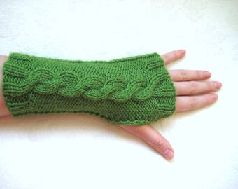 Grass Green Gloves, Armwarmers - Fingerless, Cable Knitting - Gift for Her - Ready for Shipping