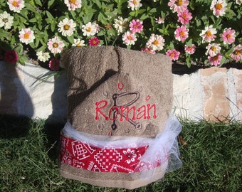 Personalized Hooded Towel Bandana/Western Style with Child's Name Included