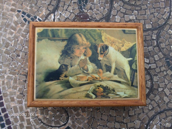 RESERVED for Tracy - Graphic Art Tiles Wood Jewelry / Trinket Box - Sweet