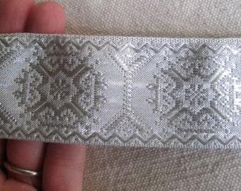 Metallic Geometric  Octagon jacquard ribbon SILVER WHITE