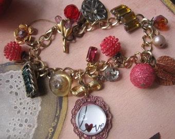 Elegance.vintage jewelry assemblage charm bracelet