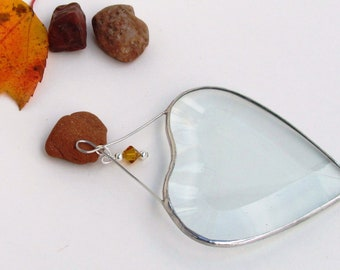 November Yellow Topaz Crystal Bead with Glass Heart Suncatcher