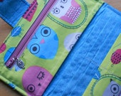 Owl Wallet, Womens Wallet, Bifold Clutch Wallet,  Owls, Lime Green, Blue, Made in USA