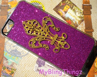 For iPhone SE or 5S / 5 - Brass Metal Stamping - Fleur De Lis on Hot Pink Fuchsia Glitter Sparkle Bling Case Cover Shell